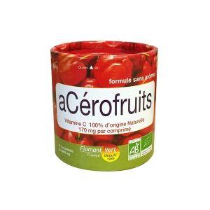 Flamant Vert acérofruits bio 45 comprimés Riche en vitamine C naturelle. Acérola enrichie en extraits de fruits. Assimilation optimale.