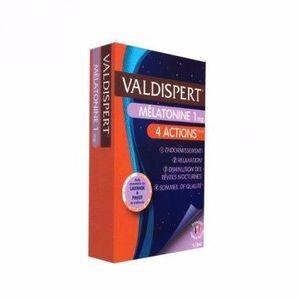 vemedia Valdispert Mélatonine 4 Actions 30 capsules La seule formule 4 actions composée de mélatonine, d'huile essentielle et de plante pour un sommeil complet !