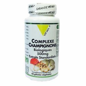 Vitall+ Complexe Champignons bio 60 gélules végétales Ingrédients issus de l?Agriculture Biologique
