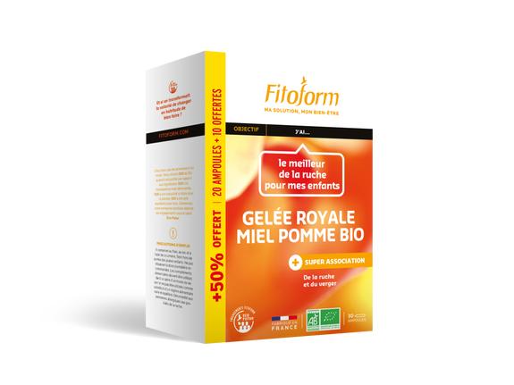 Fitoform Bio gelée Royale Miel + pomme 20 ampoules + 10 offertes Trésor de la nature pour toute la famille