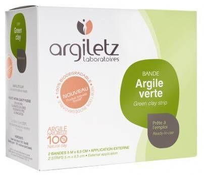 arguletz Argiletz Bandes argile verte 8.5cmX5m 2 bandes Idéale Rapide et éfficace pour nombreuses utilisations sur le corps.