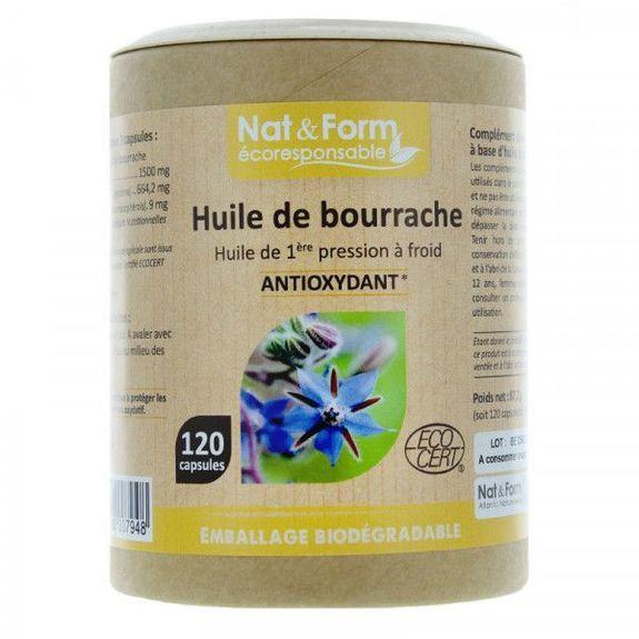 nat et form Nat & Form huile Bourrache Ecocert 120 capsules Huile de 1ere pression à froid