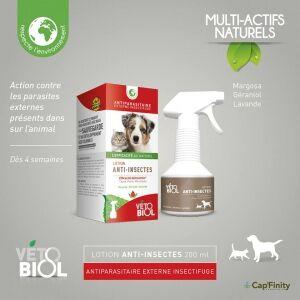 vetobiol Vétobiol Lotion Anti-insectes - 200 ml Antiparasitaire externe insectifuge aux actifs naturels Pour chien et chat