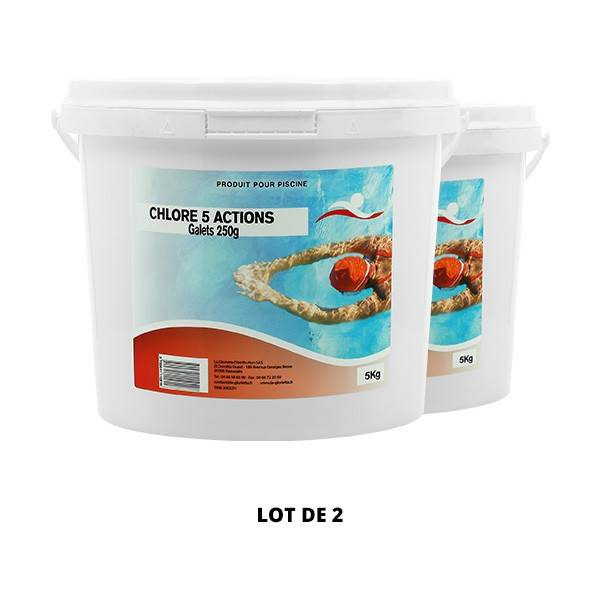 Swimmer Produits chimiques Chlore 5 actions galets 250 g - 2x5kg - Swimmer