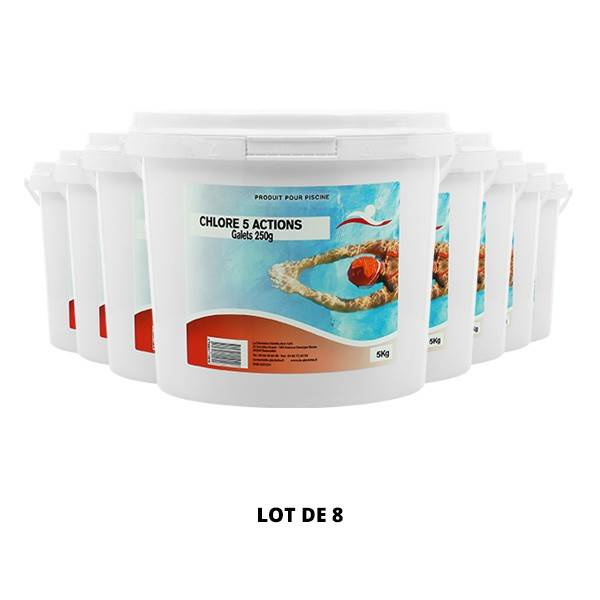 Swimmer Produits chimiques Chlore 5 actions galets 250 g - 8x5kg - Swimmer