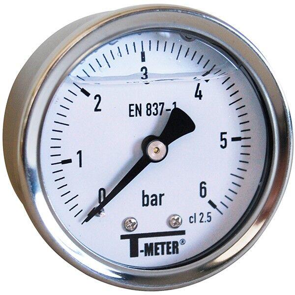 T-meter Manomètre - Manomètre à bain de glycérine 0-6 bars - Ø50 - Axial - T-meter