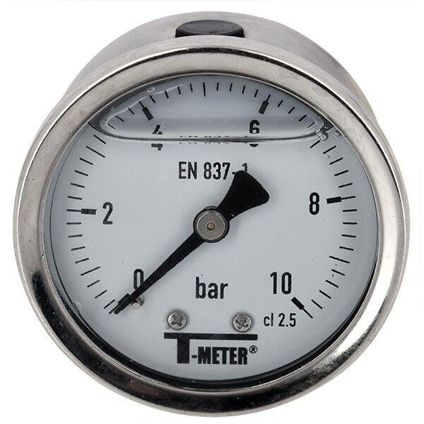 T-meter Manomètre - Manomètre à bain de glycérine 0-10 bars - Ø50 - Axial - T-meter