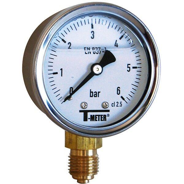 T-meter Manomètre - Manomètre à bain de glycérine 0-6 bars - Ø50 - Radial - T-meter