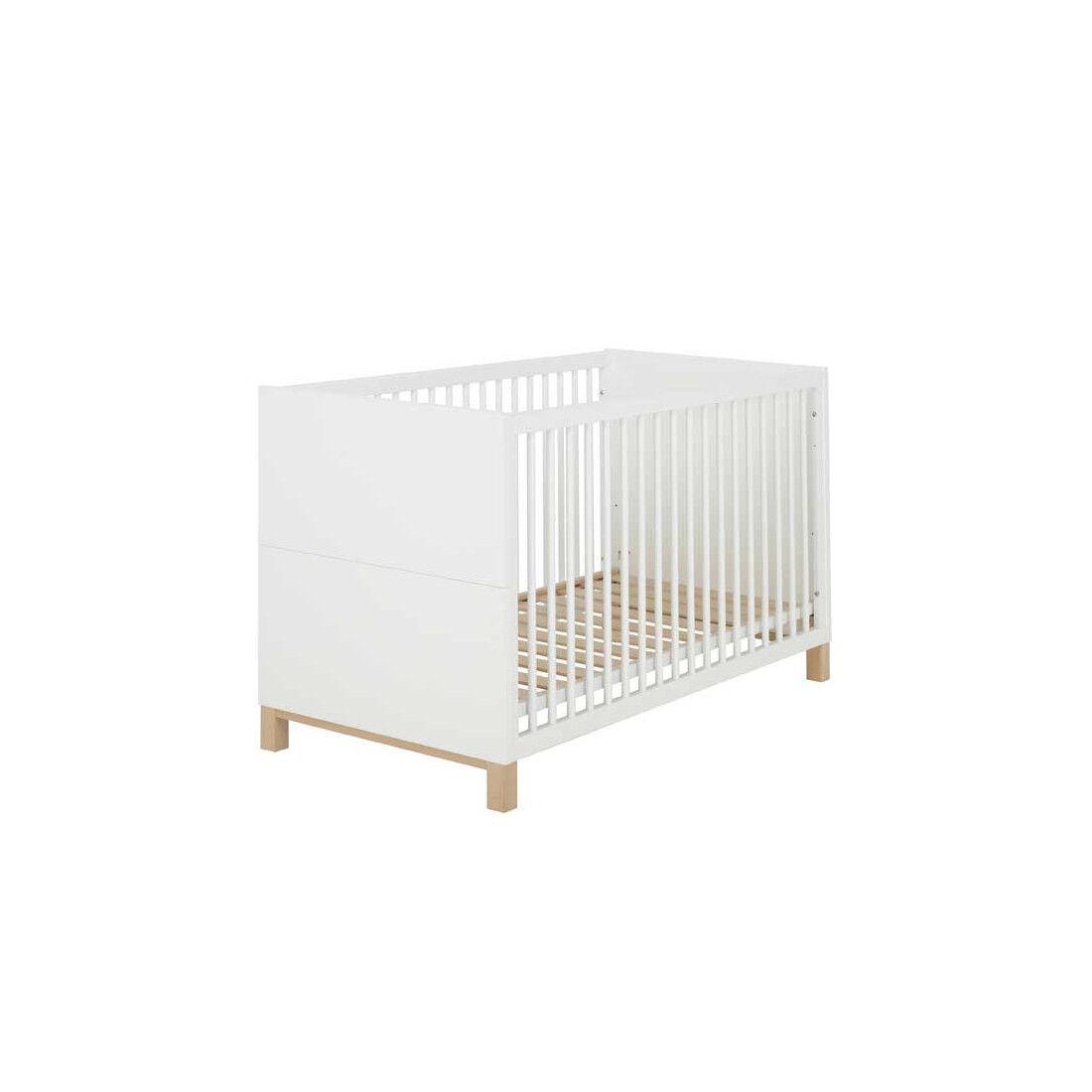 Tousmesmeubles Lit bébé évolutif Blanc/Bois - CIEL - L 74 x l 145 x H 84