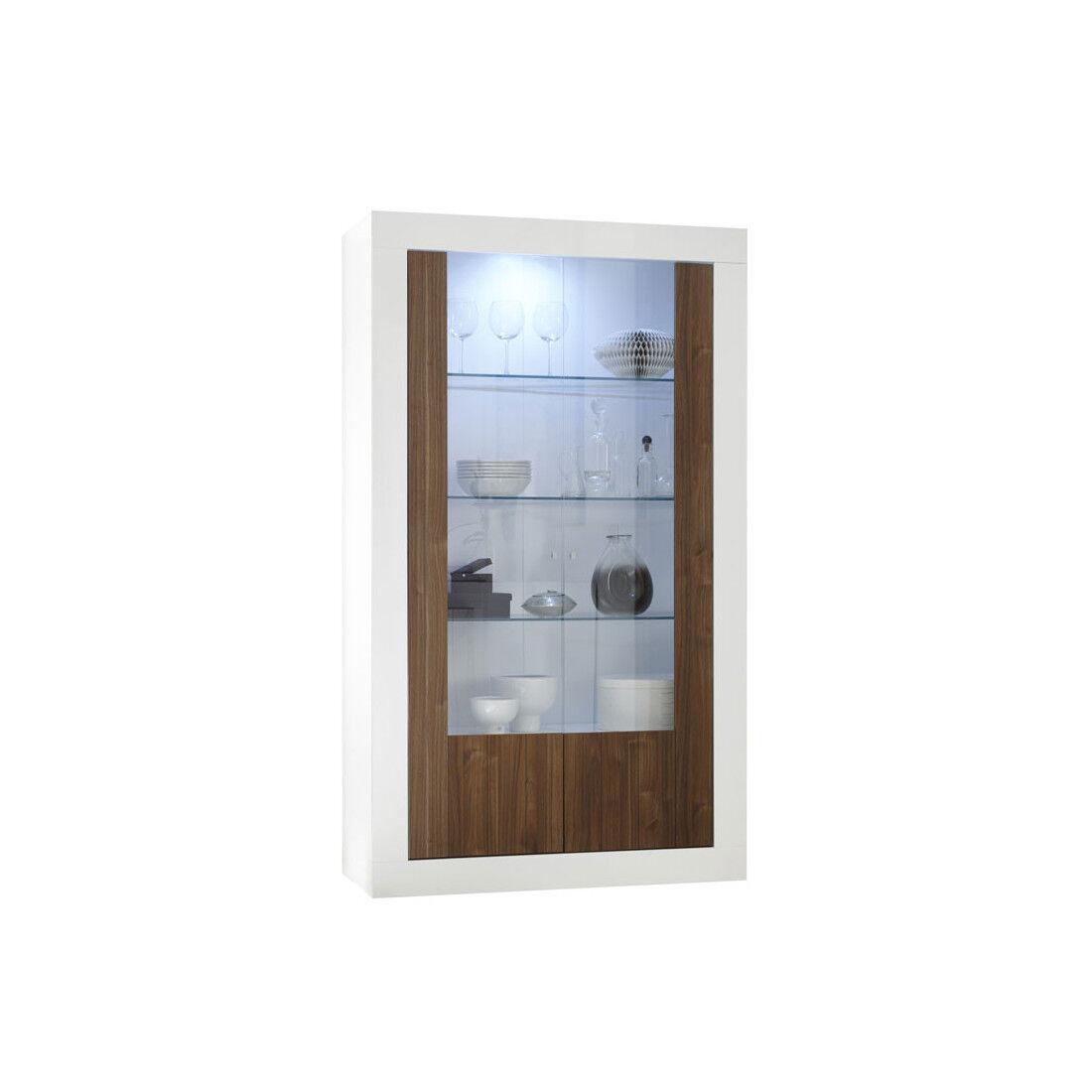 Tousmesmeubles Vitrine 2 portes Blanc/Noyer à LEDs - LUBIO - L 110 x l 42 x H 191