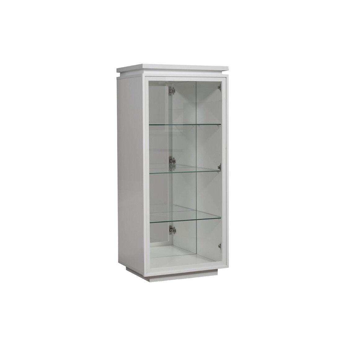 Tousmesmeubles Vitrine laque blanche 1 porte verre - CARMEN - L 55 x l 45 x H 125