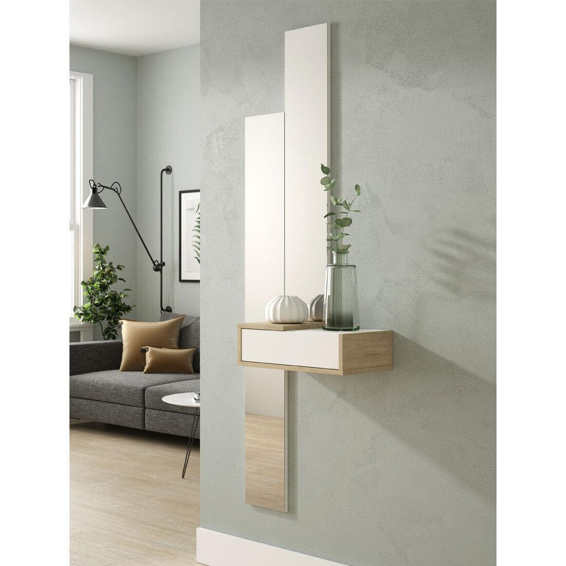 Tousmesmeubles Meuble d'entrée Bois blanc/Chêne blond + miroir - NYLA - L 47 x l 28 x H 15