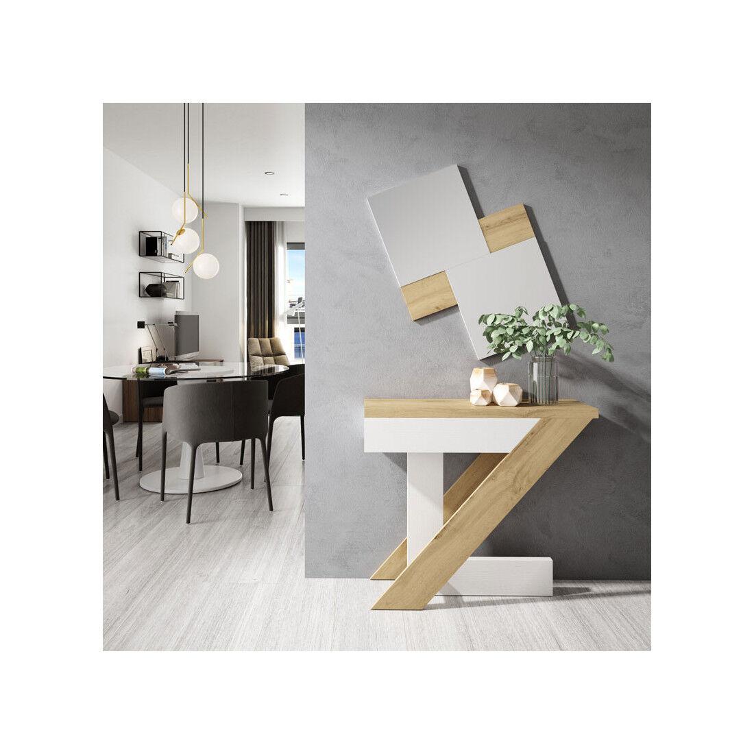 Tousmesmeubles Meuble d'entrée Chêne blond/Bois blanc + miroir - LONELY - L 87.5 x l 29 x H 75.6