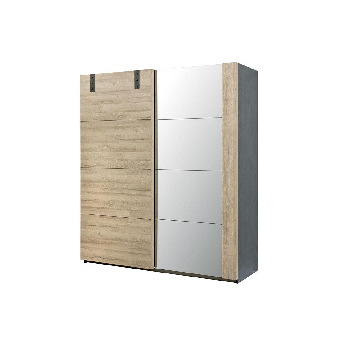 Tousmesmeubles Armoire 2 portes coulissantes Chêne/Miroir - OUDONG n°1 - L 188 x l 68 x H 215