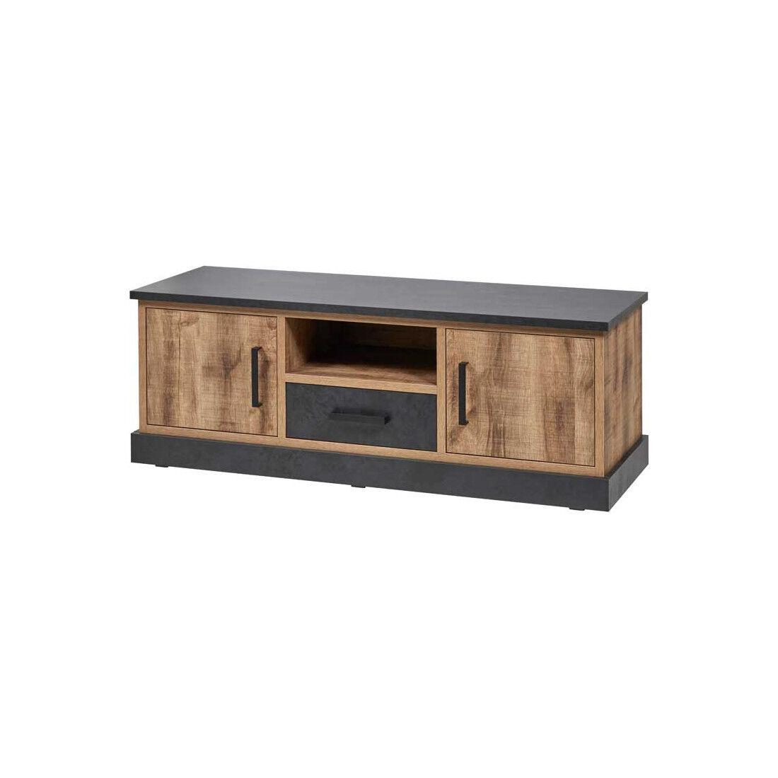 Tousmesmeubles Meuble TV 2 portes 1 tiroir Bois Tropical - TESSA - L 142 x l 48 x H 51