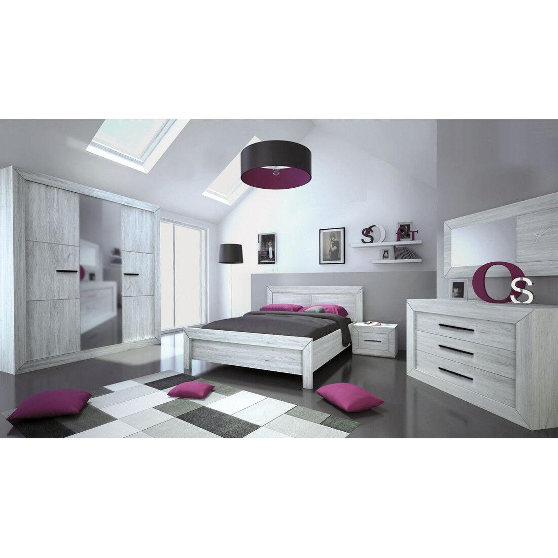 Tousmesmeubles Chambre Adulte Complète (140*190) - PAPEETE - L 168 x l 205 x H 45/90