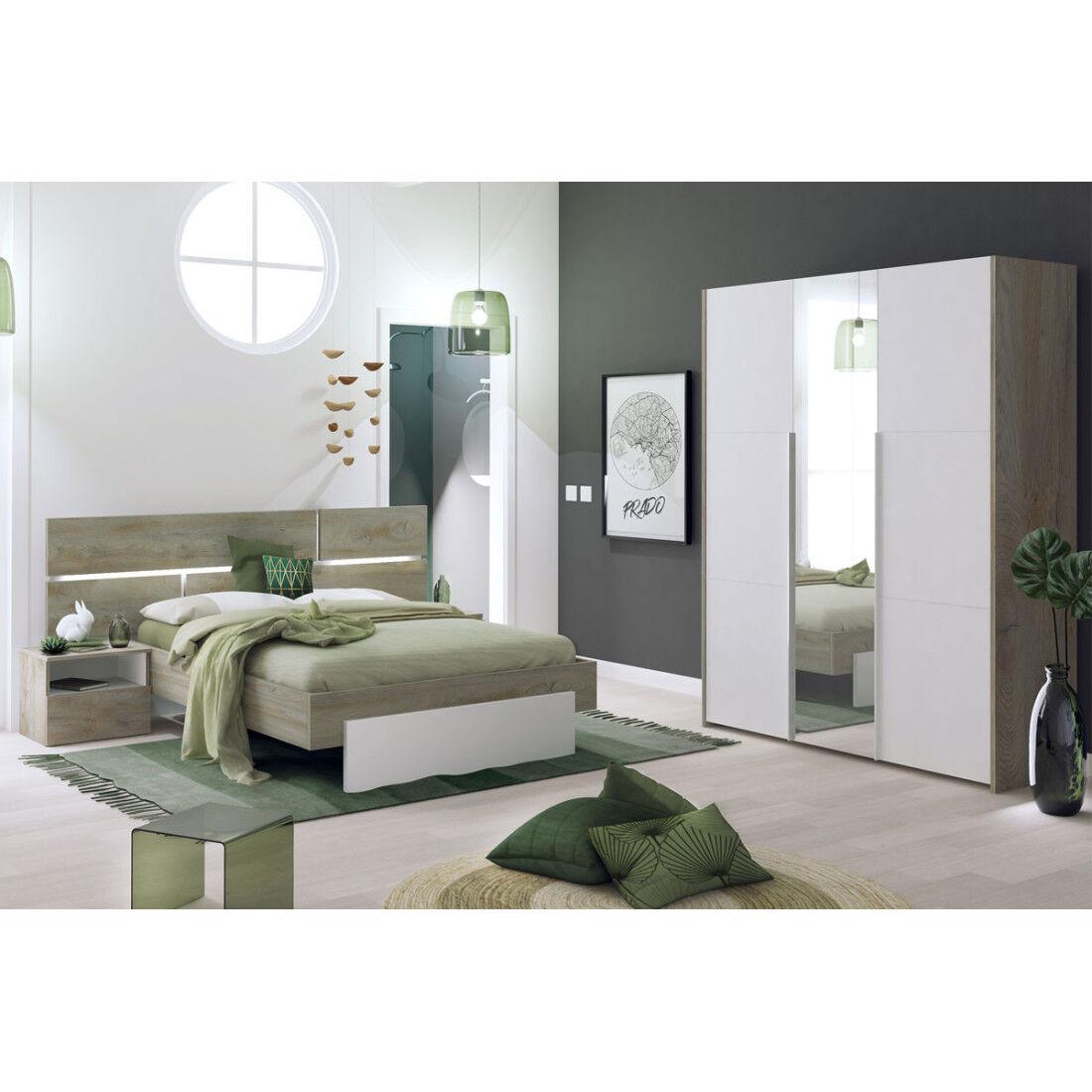 Tousmesmeubles Chambre Adulte Complète (160*200) - FLORINE n°1 - L 220 x l 208 x H 40/102