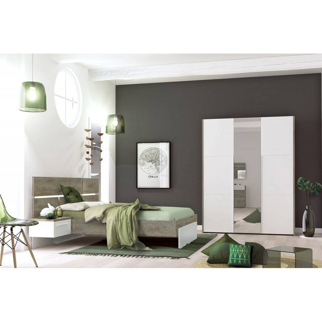 Tousmesmeubles Chambre Adulte Complète (160*200) - FLORINE n°3 - L 264 x l 208 x H 40/102