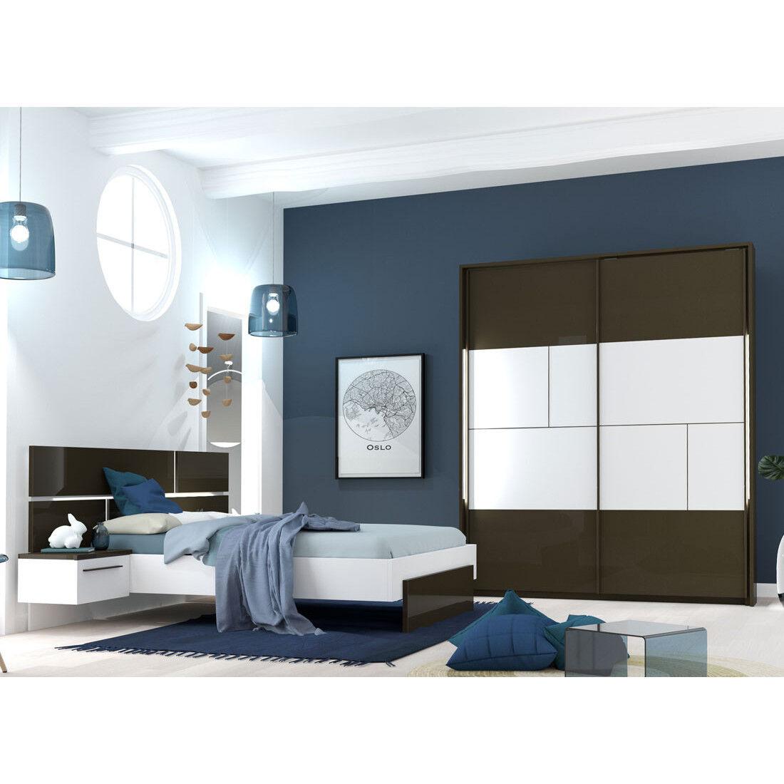 Tousmesmeubles Chambre Adulte Complète Gris/Blanc (160*200) - FLORINE n°1 - L 264 x l 208 x H 40/102
