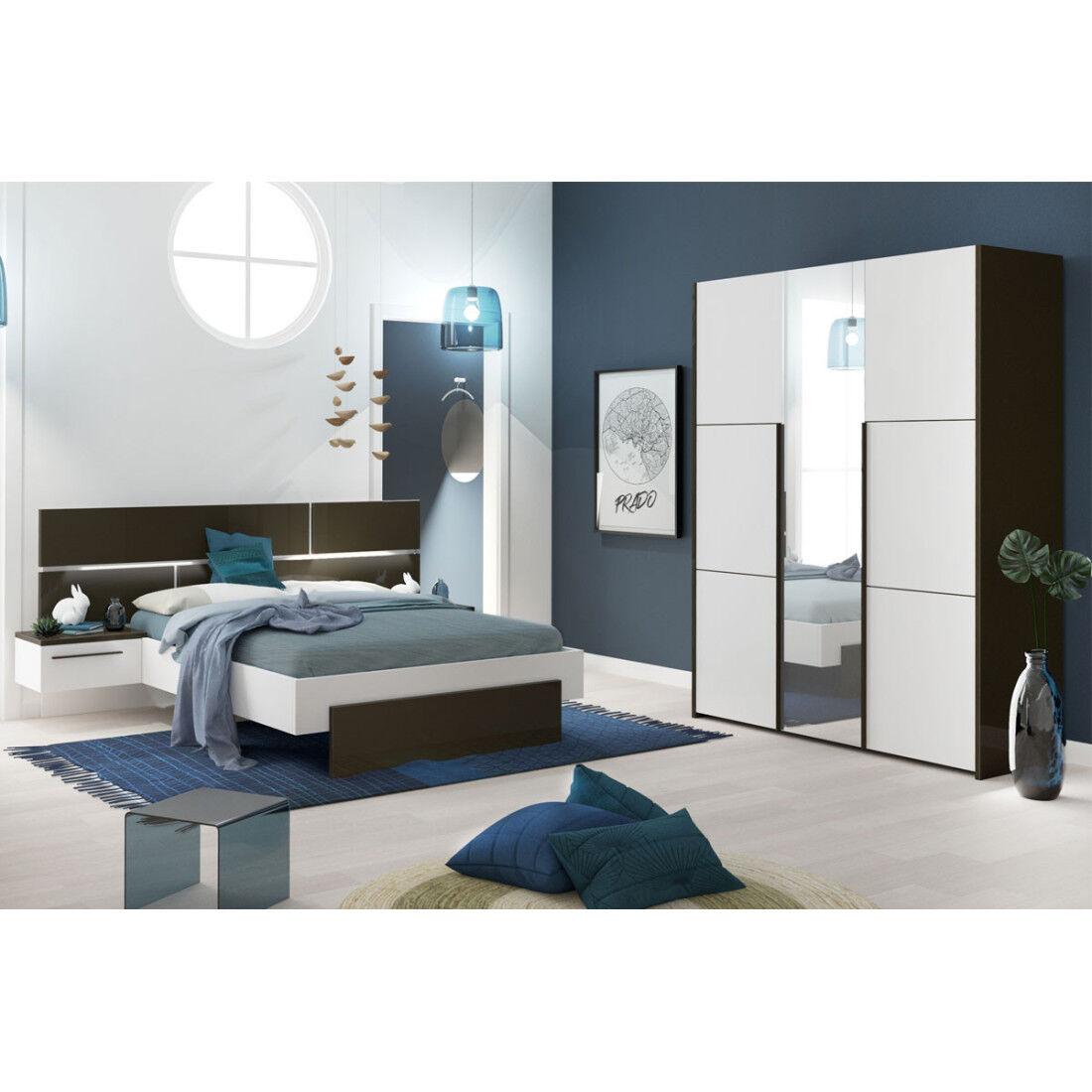 Tousmesmeubles Chambre Adulte Complète Gris/Blanc (160*200) - FLORINE n°2 - L 264 x l 208 x H 40/102