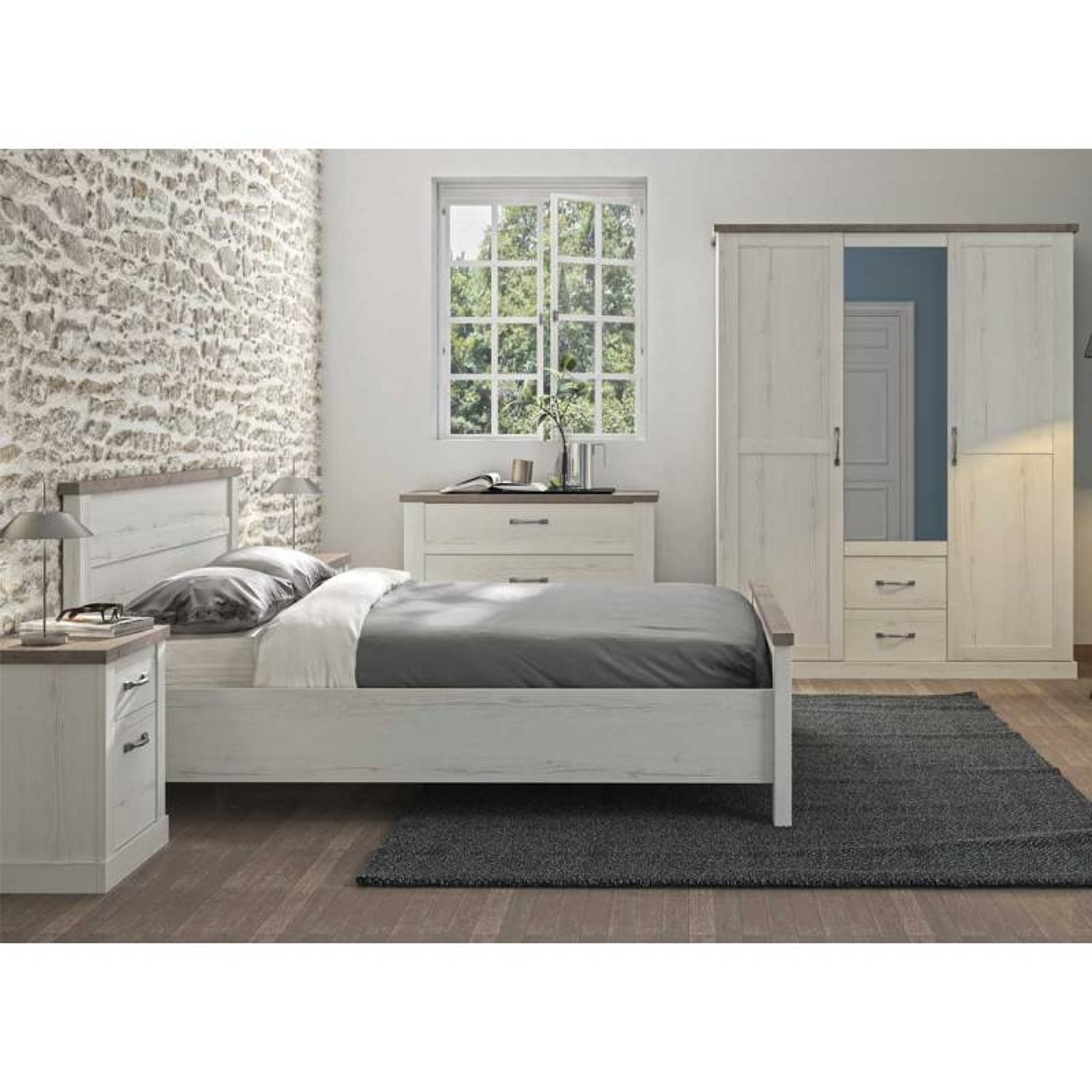 Tousmesmeubles Chambre Adulte Complète (140*190) Chêne blanchi/Béton - PERLE - L 156 x l 201 x H 100