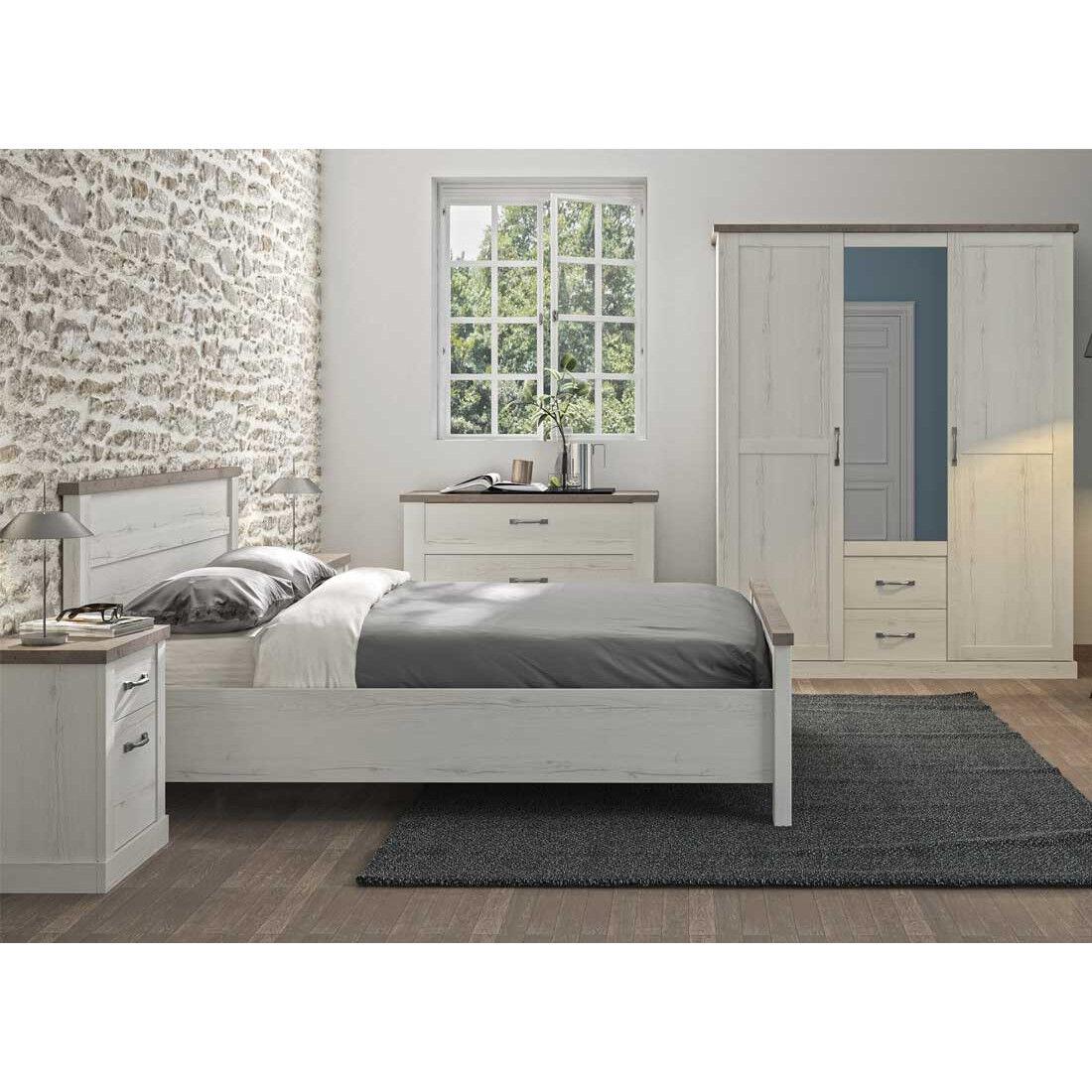 Tousmesmeubles Chambre Adulte Complète (180*200) Chêne blanchi/Béton - PERLE - L 196 x l 211 x H 100