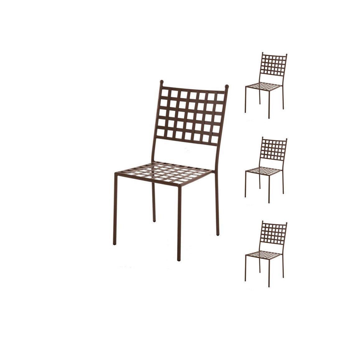 Tousmesmeubles Quatuor de Chaises en Fer forgé - TIMOR - L 46 x l 56 x H 91