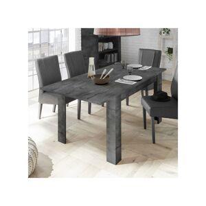 Tousmesmeubles Table de repas à allonge Béton ciré foncé - LUBIO - L 137/185 x l 90 x H 79 - Publicité
