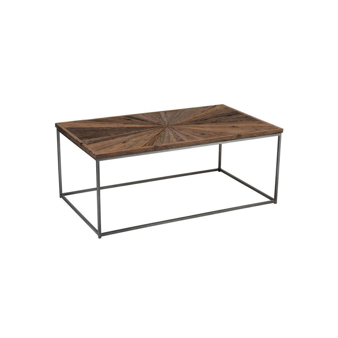 Tousmesmeubles Table basse rectangulaire Bois/Métal - ROTTERDAM - L 120 x l 70 x H 45