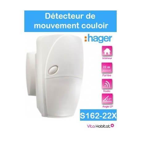 HAGER Détecteur de mouvement infrarouge - couloir 12° - 22 m - S162-22X - SEPIO Logisty Hager - pile lithium fournie