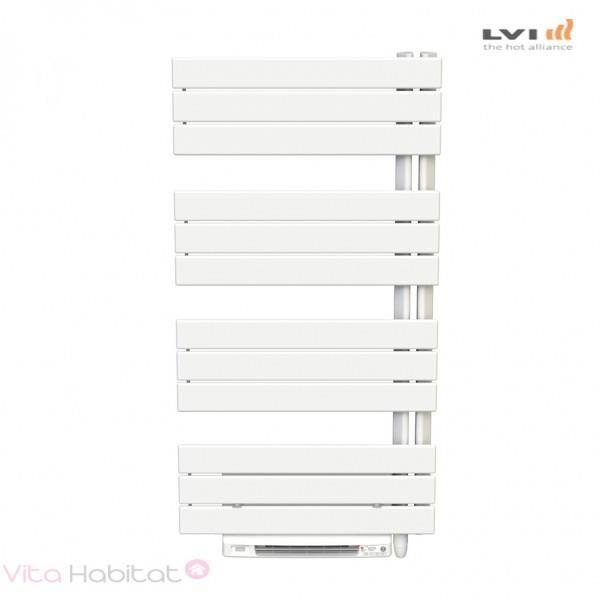 LVI Sèche-serviettes électrique soufflant LVI - SILAY RF T - 1700W (750W+ 950W) FLUIDE - 4870022 Collecteur vertical à droite
