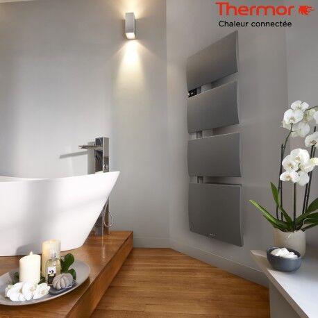 THERMOR Sèche-serviettes électrique Thermor SYMPHONIK gris roche- 1750W (750 + 1000) mât à gauche- 492613
