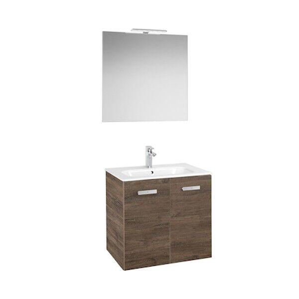 ROCA Ensemble salle de bain: Meuble 2 portes, lavabo, miroir et applique LED Victoria Unik 600 Cedre - ROCA A855899423