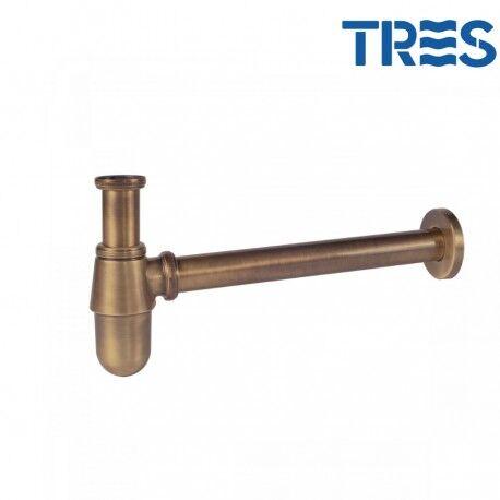 TRES Siphon bouteille avec bouchon de visite pour lavabo laiton mat - TRES 03463430LM