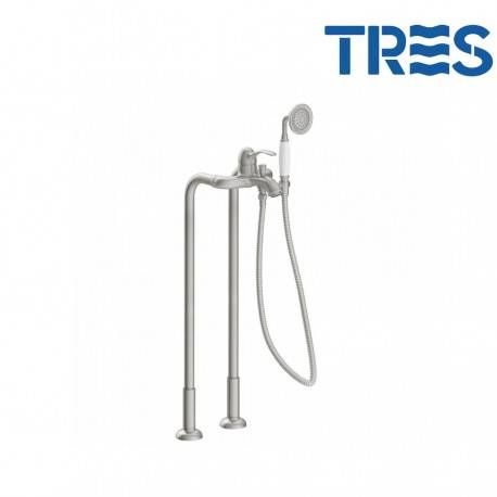 TRES Mitigeur bain avec prises d'eau au niveau du sol acier TRES-CLASIC - TRES 24219402AC