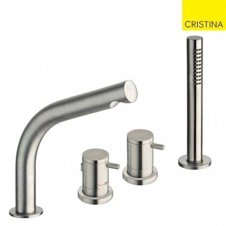 CRISTINA ONDYNA Ensemble bain douche sur gorge thermostatique 4 trous avec bec INOX - CRISTINA ONDYNA SX12528