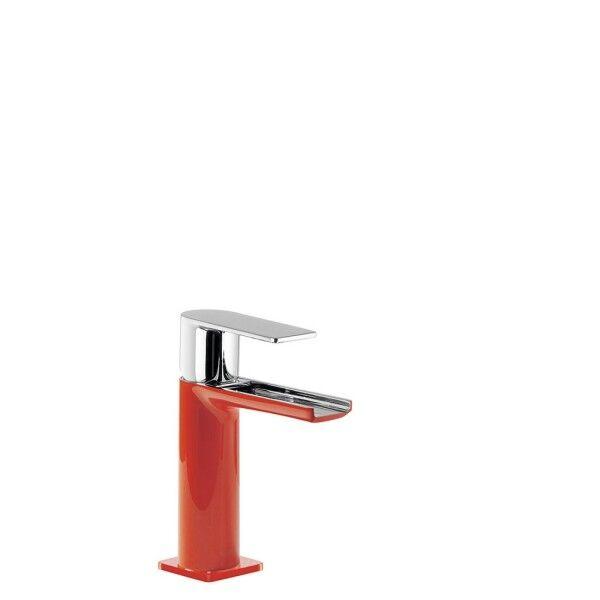TRES Mitigeur lavabo cascade bec ouvert Rouge/Chromé - TRES 20011001RO