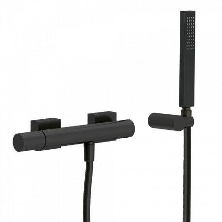 TRES Mitigeur douche Douchette à main anticalcaire avec support orientable et flexible. - TRES 21116701NM
