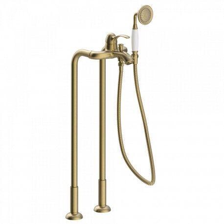 TRES Mitigeur bain avec prises d'eau au niveau du sol. Douchette à main anticalcaire. Flexible double agrafage - TRES 24219402LV
