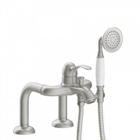 TRES Mitigeur bain d'étagère Douchette à main anticalcaire. Flexible double agrafage - TRES 24219401AC