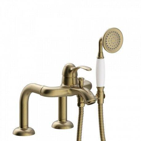 TRES Mitigeur bain d'étagère Douchette à main anticalcaire. Flexible double agrafage - TRES 24219401LV