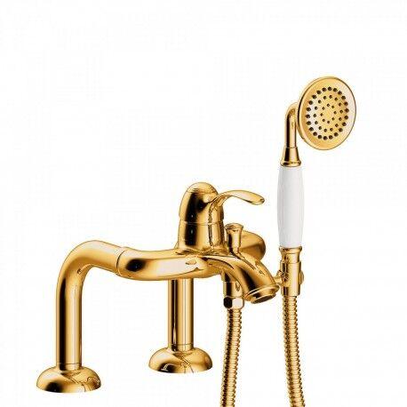 TRES Mitigeur bain d'étagère Douchette à main anticalcaire. Flexible double agrafage - TRES 24219401OR