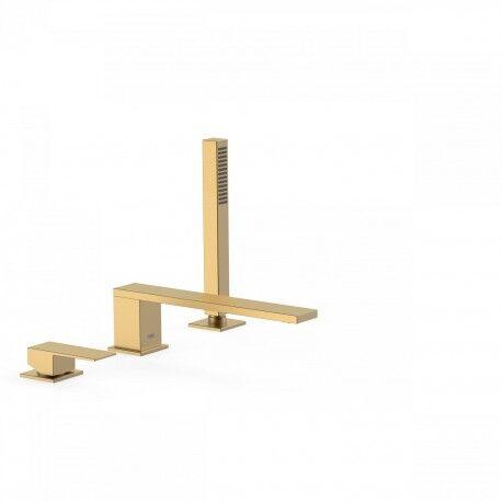 TRES Mitigeur bain d'étagère avec douchette anticalcaire. · Débit : 3 bar – 13 l/min - TRES 00616103OM