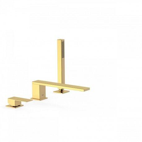 TRES Mitigeur bain d'étagère avec douchette anticalcaire. · Débit : 3 bar – 13 l/min - TRES 00616103OR