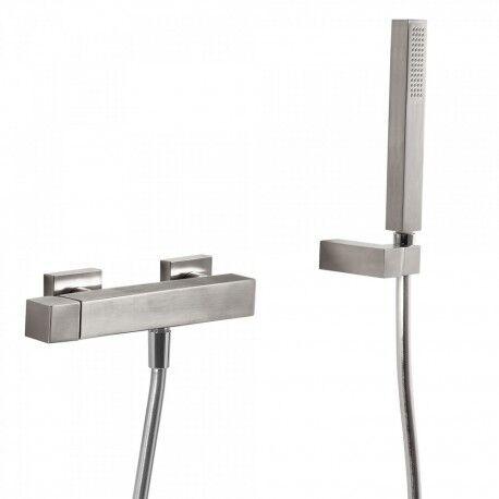TRES Mitigeur douche Douchette à main anticalcaire avec support orientable et flexible. - TRES 50716703