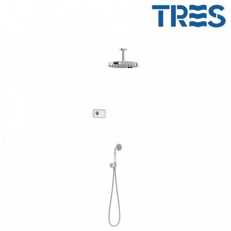TRES Kit de douche thermostatique électronique et encastré SHOWER TECHNOLOGY Chrome - TRES 09226202