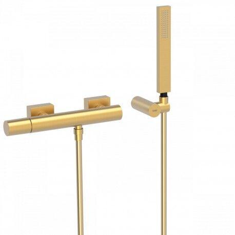 TRES Mitigeur douche Douchette à main anticalcaire avec support orientable et flexibl - TRES 21116701OM