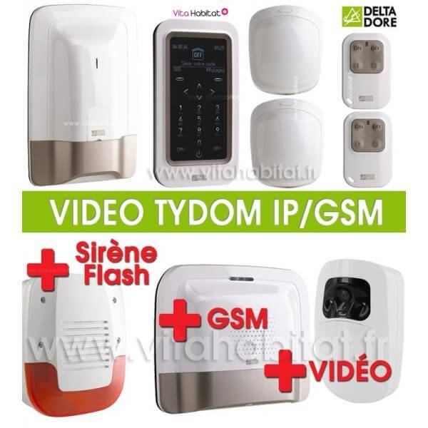 DELTA DORE Pack Alarme Radio TYXAL Plus + sirène + Pack Tydom Vidéo IP/GSM 2.0 - Delta Dore - 6410176 + 6410173