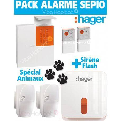 HAGER Pack Alarme SEPIO ANIMAUX RLP305F avec Sirene Exterieure - Logisty Hager - RLP305F