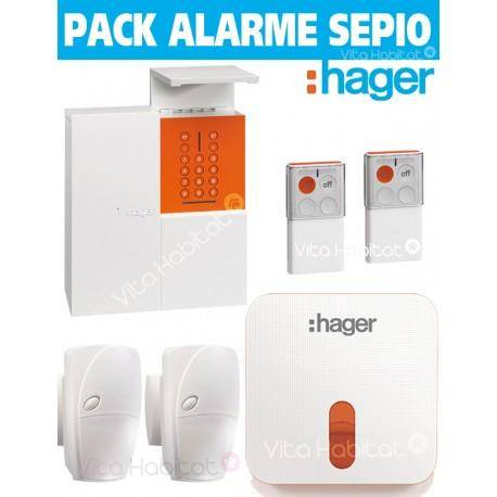 HAGER OFFRE Pack Alarme Radio SEPIO RLP305-MAISON avec Sirene Exterieure - RADIO- Logisty Hager